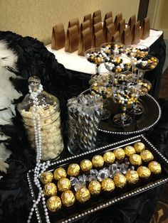 Black, Gold and Ivory candy buffet: