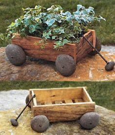 River Rock Planter Box Wagon