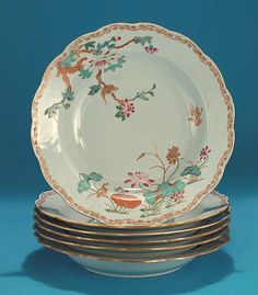 """GOOD SET OF SIX CHINESE EXPORT DEEP SOUP PLATES  """"Cormorant & Magpie"""", Probably Swedish Market (Qianlong, c1750) *Click to read about the history and see more detailed images*"""
