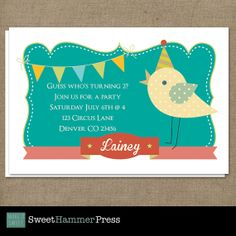 Baby Chick Custom Birthday card for kids. by SweetHammerPress, $16.00