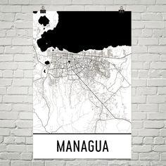 Managua Nicaragua Map, Art, Print, Poster, Wall Art From $29.99 - ModernMapArt