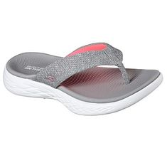 Skechers Women's On The GO 600 Preferred Thong Sandals (Grey/Pink)