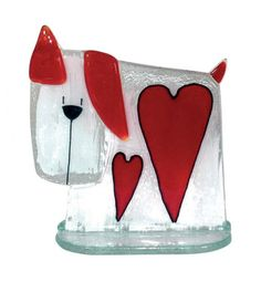 Handmade glass dog with hearts, made using the traditional art of fusing glass. Available from Artworx Gallery. www.artworx.co.uk
