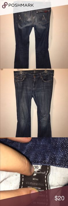 A pocket bootcut jeans Full length, bootcut jeans in a dark wash that is slightly faded. Seven7 Pants Boot Cut & Flare