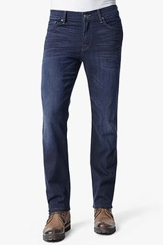 7 For All Mankind, Luxe Performance: Slimmy Slim Straight Leg in Blue Ice.