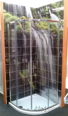 Relaxing waterfall tiled mural in your shower!