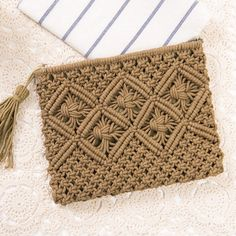 Tassel Crochet Clutch Bag Army Green ($19) ❤ liked on Polyvore featuring bags, handbags, clutches, crochet purse, brown purse, tassel clutches, olive green purse and army green purse