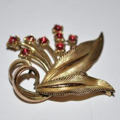 Amerikaner AD Brooch Pin Gold cut glass garnet by EvesWoodenSpoon, $200.00