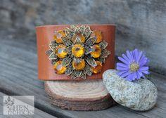 Vintage Brooch Leather Chick Cuff Bracelet by HenandChicksToo