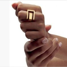Hearts Q Jewelry Unique Simple Design Ring Gold Plated Party Jewelry Trendy Geo Band Ring For Women