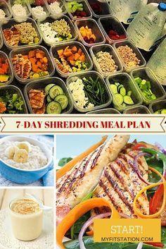 7-day Shredding & Fat Burning Meal Plan - http://www.myfitstation.com #fitness #mealplan #fatloss