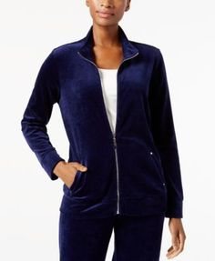 Karen Scott Mock-Neck Velour Jacket, Created for Macy's - Purple XXL