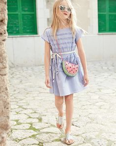 J.Crew girls tiered ruffle dress, glitter watermelon bag, and gladiator sandals. To preorder call 800 261 7422 or email verypersonalstylist@jcrew.com.