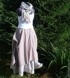 boho style льняная длинная юбка бохо  lagenlook linen  maxi skirt
