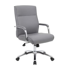 Boss Office Products Modern Executive Conference Chair in GreyBeautifully upholstered with ultra-soft, durable and breathable CaressoftPlus upholstery. Passive ergonomic seating with built-in lumbar support. Executive Office Furniture, Executive Chair, Cheap Office Chairs, Home Office Chairs, Office Chair Without Wheels, Conference Chairs, Ergonomic Office Chair, Diy Chair, Grey Desk Chair