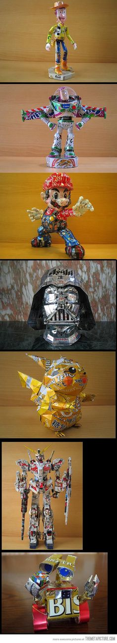 Action figures made from cans…