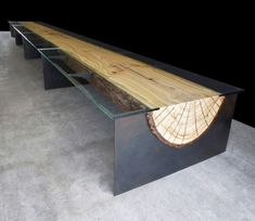 steel, glass, and log table