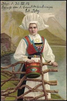 Woman from Hardanger wearing bunad with skaut and carrying a pail. This is a John Fredriksons postcard published in Christiania now Oslo, Norway. Antique Photos, Vintage Photos, Folk Costume, Costumes, Norwegian Vikings, Norway Viking, Norway Travel, Mrs Claus, Scandinavian Style