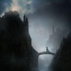 В этом уроке вы узнаете, как создать туманный пейзаж в средневековом стиле со скалами, замком, арочным мостом.