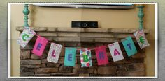 Thirty-One banner made with old fabric swatches and paint. So easy!