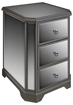 PD Global Hexagonal 3 Drawer Mirrored Chest for sale online Bedroom Drawers, Dresser Drawers, Living Room Furniture, Traditional Home Furniture, Modern Traditional, Modern Chest Of Drawers, Drawer Storage Unit, Dressers For Sale, Glass Side Tables
