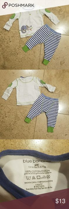 6 Month Matching Outfit This adorable outfit is medium green and a periwinkle color with an embroidered iguana on the right hip and little green elbow patches. The bottoms are legging style with stripes. Never worn! blue banana Matching Sets