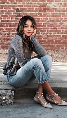 #sincerelyjules #spring #summer #besties | Grey Ruffles + Denim Source