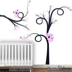 Kids Koala Wall Sticker  Pink Koala Tree Branches by StunningWalls