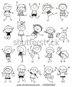 Hand Drawing Cartoon Happy Kids Playing Stock-Vektorgrafik (Lizenzfrei) 148705529 - Group of kids,drawing sketch You are in the right place about kids videos Here we offer you the mos - Doodle Art, Doodle Drawings, Cartoon Drawings, Easy Drawings, Drawing Sketches, Doodle Kids, Happy Cartoon, Cartoon Kids, Drawing For Kids