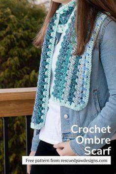 Free Ombre Crochet Scarf Pattern - Free Crochet Pattern from Rescued Paw Designs Single Crochet Stitch, Basic Crochet Stitches, Crochet Basics, Crochet Scarves, Crochet Shawl, Crochet Yarn, All Free Crochet, Easy Crochet, Crochet Scarf For Beginners