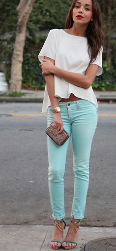 j crew toothpick pant; white cropped top