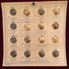 RARE WW2 WWII ERA SALESMAN MILITARY BUTTON DISPLAY SAMPLE LOT OF 16 ARMY NAVY AF