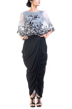GREY & BLACK RAW SILK & SATIN FABRIC DRESS