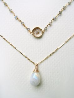 White Moonstone and Gold Coin Double Layer Necklace by CateKatan on Etsy