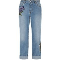 Alexander McQueen Boyfriend Jeans (7,795 SAR) ❤ liked on Polyvore featuring jeans, blue floral jeans, floral print jeans, alexander mcqueen, rolled jeans and rolled up jeans