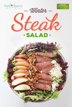 Winter Steak Salad Recipe for a delicious winter meal or side! by Simply Designing
