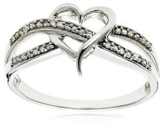 14k White Gold Diamond Heart Ring (1/10 cttw, H-I Color, I2 Clarity) Review