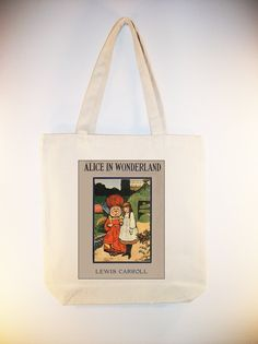 Alice in Wonderland Book Cover 15x15 Canvas Tote -- larger zip top tote style and personalization available