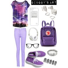 Purple School by giuggysart on Polyvore featuring polyvore, moda, style, Keds, FjÄllrÄven, Whistles, Forever 21, Muse and River Island