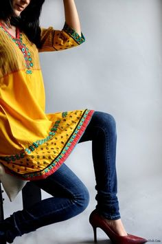 Kurti and jeans, perfect casual outfit.
