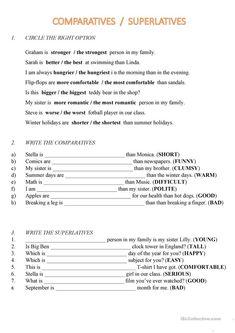 Comparatives and Superlatives (easy) worksheet – Free ESL printable worksheets m… – Grammar English Grammar Exercises, Teaching English Grammar, English Grammar Worksheets, English Language Learning, German Language, Japanese Language, Teaching Spanish, Spanish Language, Easy Grammar