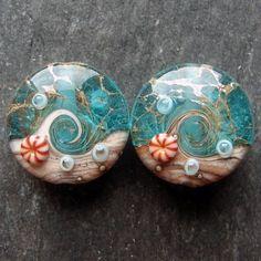 Lampwork beads 1520 Sprees (2) Ocean Waters.