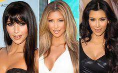 Acompanhe a evolução do cabelo de Kim Kardashian O tempo passou e a franjinha retornou. A grande mudança, porém, veio em 2009, quando Kim ficou bem loira. Após alguns meses, oi, castanho escuro!