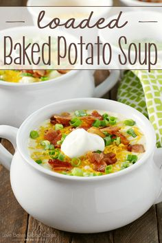 This Loaded Baked Potato Soup is a cinch to put. This Loaded Baked Potato Soup is a cinch to put together! This Loaded Baked Potato Soup is a cinch to put together! Its comforting and satisfying - and perfect for these colder nights! Chili Recipes, New Recipes, Soup Recipes, Cooking Recipes, Easy Recipes, Amazing Recipes, Dinner Recipes, Favorite Recipes, Recipies