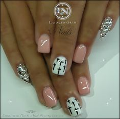 Nude Pink Nails with Crystal Pointy Pinkie...I don't like the pointy pinkie love everything else!