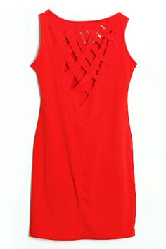Red Cut Out Sheer Red Dress (Back)