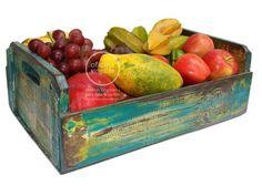 Fruteira de caixa reciclada com pintura em pátina mineira