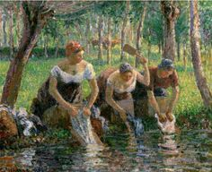 Camille Pissaro - The Washerwomen                                                                                                                                                      Plus