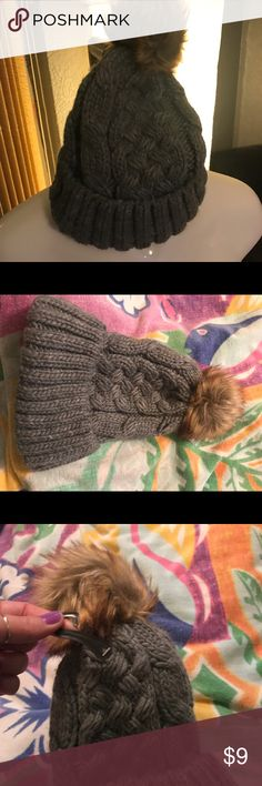 HeTher gray beanie brand new Super cute beanie new heather gray color with puff Accessories Hats