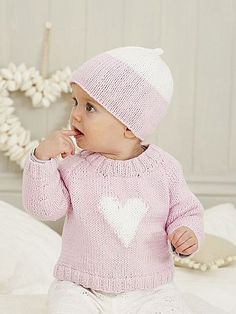 Baby sweater knitting pattern for Valentine's Day in the King Cole 6 pattern book: get it at Laughing Hens